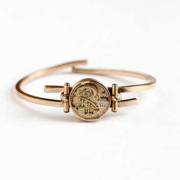 Antique Rose Gold Filled Victorian Bypass Bracelet - Unique Town Scene Crescent Moon Vintage 1900 Hinged Bangle Wrap Decorative Disc Jewelry