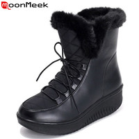 2016 new Snow Boots platform women winter shoes waterproof ankle boots lace up fur boots white black