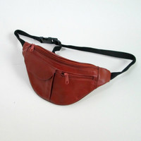 Brown Leather Fanny Pack Vintage 1980s Multicompartment Adjustable Unisex