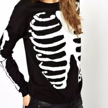 Womens Bone Print Knitted Top