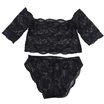 Sexy Women's Black Thin Lace Bra Tops  Panty Underwear Sets Breathable Hollow Out Crop Tops SM6