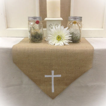 "Burlap Table Runner with a Cross in  12"", 14"" & 15"" wide"