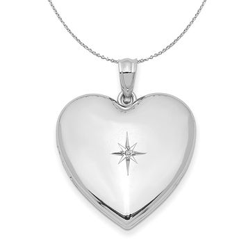 24mm .01 Ct Diamond Star Design Heart Shaped Silver Locket Necklace