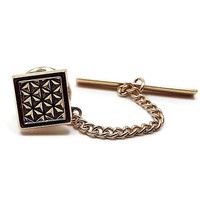 Vintage Tie Tack, Geometric Triangle Waffle Pattern, Retro 1980s 80s, Gold Tone Square, Mens Formal, Mens Gift