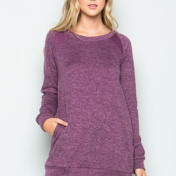 Purple Brushed Elbow Patch Tunic with Side Pockets