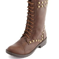 PYRAMID STUD LACE-UP COMBAT BOOT