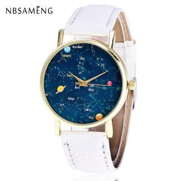 New Women Watch Crystal Star & Sky Pattern Golden Fashion Wristwatch Casual Watches Leather Ladies Clock Relojes Feminino LZ4218