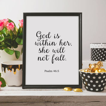 God is within her she will not fall Nursery verse print decor scripture art printable Psalm 46:5 Printable wall decor Bible verses