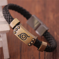 Hot new Naruto Bracelet Leaf Mark Brown Wristband Cosplay Bangle FHRG For Anime Fan free shipping