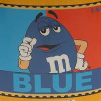 "M&Ms Blue Stamp Blanket 50"" x 60"" Plush Throw Polyester Thick Fleece Soft Large"