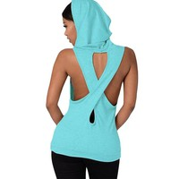 Fashion Cross Sport T Shirt Women Sportswear Hoodies Yoga Tops