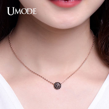 UMODE Delicate 4 Designs Micro CZ White / Rose Gold Color Pendant Choker Necklaces Jewelry for Women Bijoux Femme UN0231
