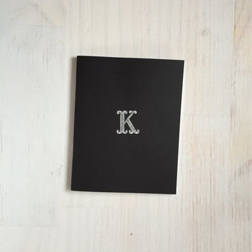 Medium Notebook: Embossed Monogram Notebook, Personalized, Monogram, K, Black and White, Wedding, Cute, Favor, Blank, Unique, Gift, Notebook