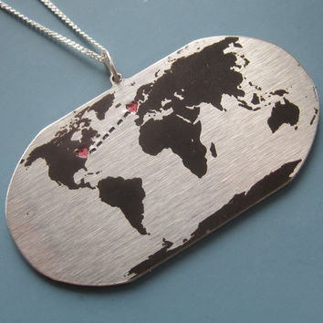 Personalized Long Distance Love Globe Map Necklace
