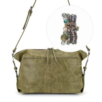 Beaded Stretch Bracelet and Slouchy Bag Gift Set in Khaki Green