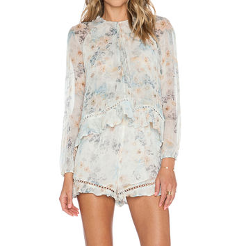 Zimmermann Tarot Layered Romper in Floral