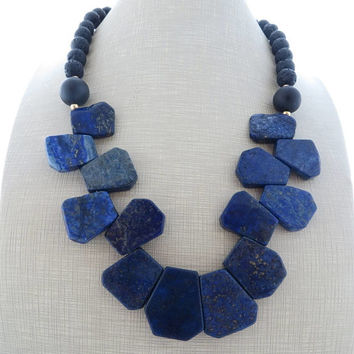 Blue lapis lazuli necklace, chunky necklace, bib necklace, black lava and onyx necklace, beaded necklace, stone choker, contemporary jewelry