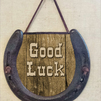Rustic Good Luck Horseshoe Wall Hanging, Perfectly Aged Patina, Leather Lace Accent, Hang For Good Luck, Housewarming Gift, Holiday Gift