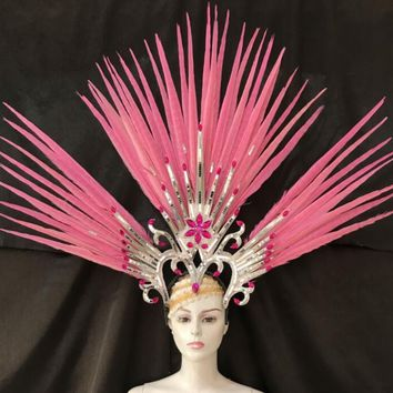 Exquisite Headdress Pink Feathers Cosplay Crown Dance Shows