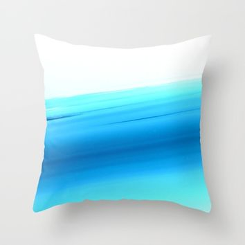 Turquoise Aqua Ombre Throw Pillow by SimplyChic