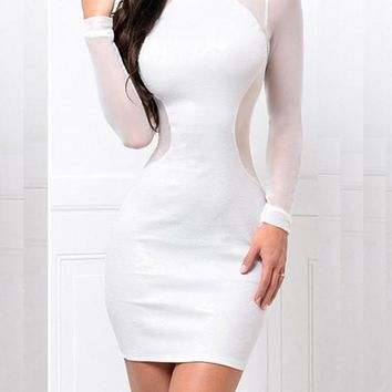 White Patchwork Cut Out Studded Round Neck Mini Dress