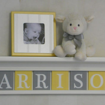 "Yellow Gray Baby Name Sign Nursery Decor 30"" Linen (off white) Shelf with 8 Letter Wall Plaques Yellow and Grey - HARRISON, Kids Room Decor"