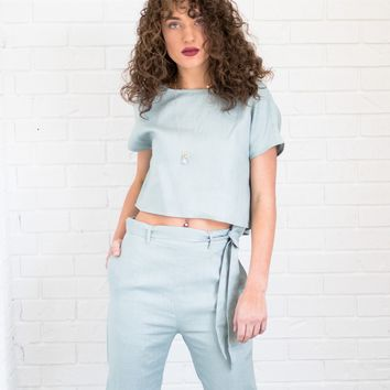 Lisa Linen Crop Top and Pant Set