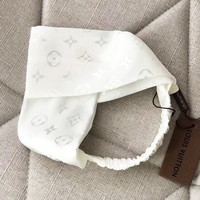 LV Louis Vuitton Newest Stylish Women White Sport Cross Headband Hair Band