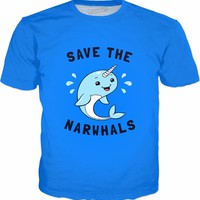 Save The Narwhals T-Shirt - Cute Narwhal Meme