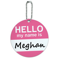 Meghan Hello My Name Is Round ID Card Luggage Tag