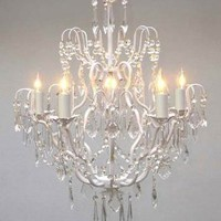 """White Wrought Iron Crystal Chandelier Chandeliers Lighting H27"""" x W21"""""""