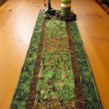 Table Runner Pine Cones Quilted Handmade Mountain Cabin Home Living Table Linen
