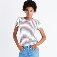 Whisper Cotton Crewneck Tee in Brion Stripe