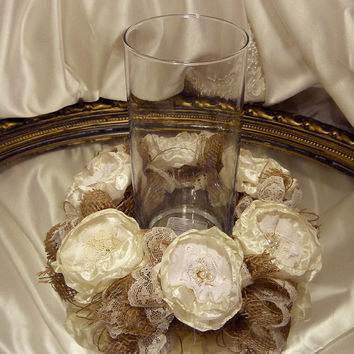Burlap Candle Ring Table Decor, Natural Burlap and Lace, ivory silk peony fabric flowers and pearls.