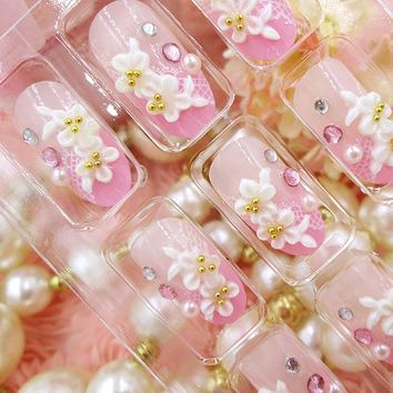 24 Pcs/Set Full Nails Tips With Glue 3D Carved Flowers Shining Rhinestone Wedding Bride Fake Nail For Lady Gift   FM