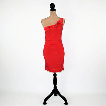 Sexy Red Dress One Shoulder Dress Bodycon Ruched Wiggle Dress Red Club Dress Junior Size Large Womens Size XS Small Womens Clothing