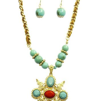 Turquoise and Coral Faceted Lucite Stone Textured Metal Pendant Necklace And Earring Set