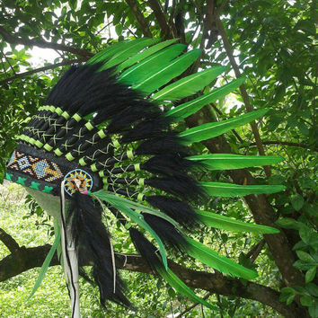 Green Native American Headdress, Indian Headdress for baby, Toddler Warbonnet, Baby shower, First birthday, Tee pee party, pow wow