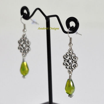 Green Teardrop Dangle Earrings ** Free Shipping to USA **