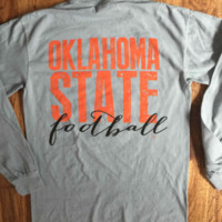 Oklahoma State on Grey Comfort Colors-Long Sleeve