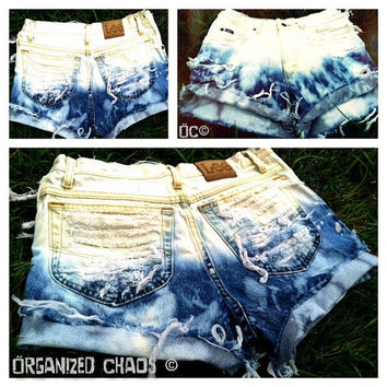Vintage Ombre High Waist Denim Shorts by SHOPOrganizedChaos
