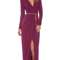 Halston Heritage Long Sleeve Cross Over V Neck Gown in Purple