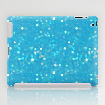 Soft Blue Glimmering Sparkles iPad Case by KCavender Designs