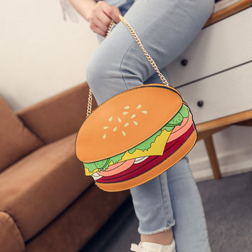 Unique Cartton Crossbody Bags for Women Hamburger French Fries Popcorn Shape Shoulder Messenger Bags Handbag Bolsas Femininas SN9