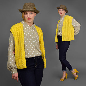 Vintage 80s Sweater Vest • Yellow Cardigan • Hand Knit Sweater • Button Up Cable Knit Sweater • 1980s Molly Ringwald Style Oversize Sweater