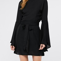 Flare Sleeve A Line Backless Dress
