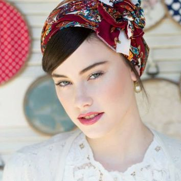 Uri Floral Maroon Head Covering