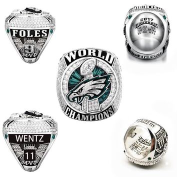 Philadelphia Eagles championship ring   Drop Shipping Philadelphia  Eagles championship rings with dog's head for fans size 7-15