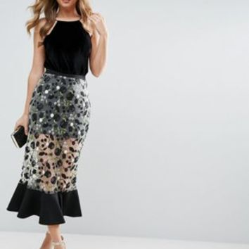 ASOS Midi Column Skirt with Dark Floral Embroidery