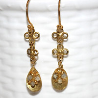 Upcycled Real Diamond 14k Gold Vermeil Teardrop Bali Dangle Earrings Handmade Gemstone Eco Jewelry